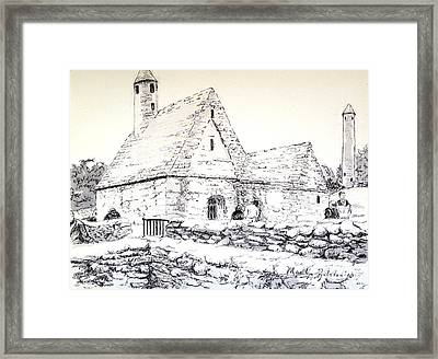 Framed Print featuring the drawing St Kevin's by Marilyn Zalatan