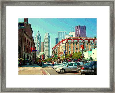 St Lawrence Market At Lower Jarvis Flatiron Building Downtown Toronto Skyline City Scenes C Spandau Framed Print by Carole Spandau