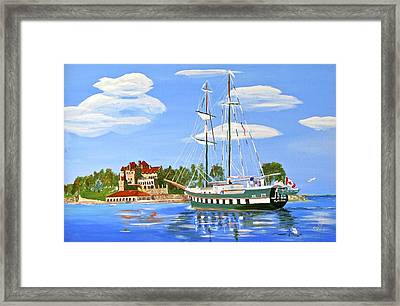 Framed Print featuring the painting St Lawrence Waterway 1000 Islands by Phyllis Kaltenbach