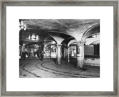 st. Lazare Subway Station Framed Print by Underwood Archives