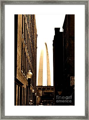 St. Louis Arch Through Buildings Framed Print