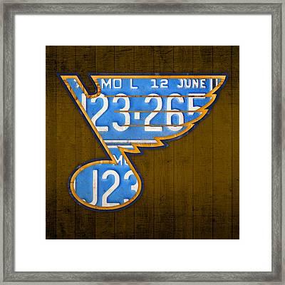 St Louis Blues Hockey Team Retro Logo Vintage Recycled Missouri License Plate Art Framed Print by Design Turnpike
