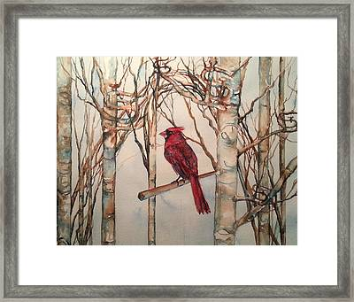 Framed Print featuring the painting St Louis Cardinal Redbird by Christy  Freeman