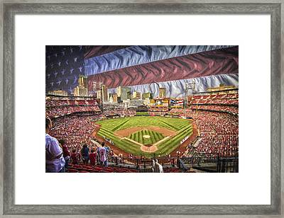 St Louis Cardinals Busch Stadium National Anthem Paint Framed Print by David Haskett