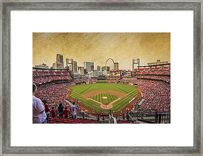 St. Louis Cardinals Busch Stadium Texture 9252 Framed Print by David Haskett
