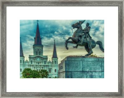 St. Louis Cathedral And Andrew Jackson- Artistic Framed Print