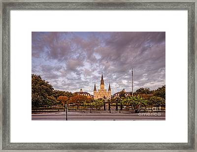 St. Louis Cathedral And Jackson Square - French Quarter - New Orleans Louisiana Framed Print by Silvio Ligutti