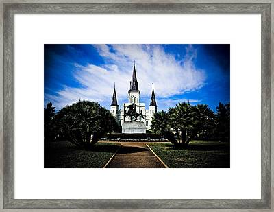 Framed Print featuring the photograph St Louis Cathedral In Jackson Square by Ray Devlin