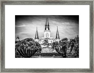 St. Louis Cathedral In New Orleans Black And White Picture Framed Print by Paul Velgos