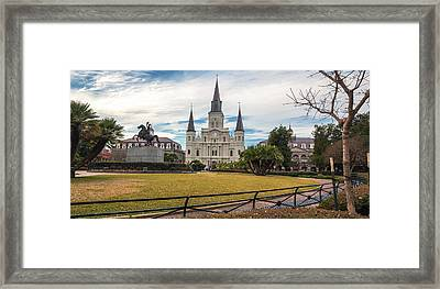 St. Louis Cathedral Pano Framed Print by Chris Moore