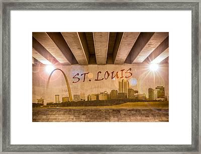 St. Louis Graffiti Skyline Framed Print by Semmick Photo