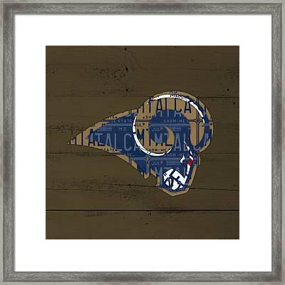 St Louis Rams Football Team Retro Logo Recycled Missouri License Plate Art Framed Print by Design Turnpike
