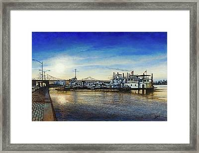 Framed Print featuring the painting St. Louis Riverfront by Michael Frank