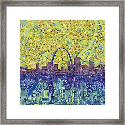 St Louis Skyline Abstract 10 Framed Print
