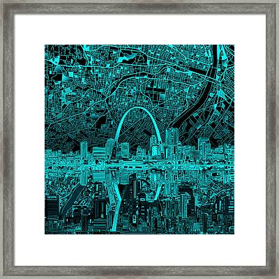 St Louis Skyline Abstract 4 Framed Print