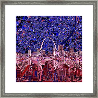 St Louis Skyline Abstract 6 Framed Print