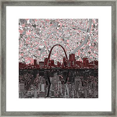 St Louis Skyline Abstract 7 Framed Print