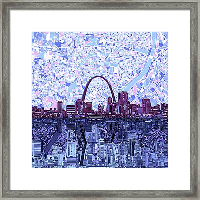 St Louis Skyline Abstract 8 Framed Print