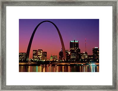 St. Louis Skyline And Arch At Night Framed Print