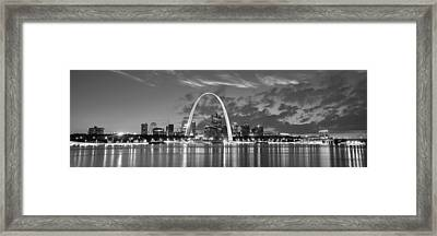 Framed Print featuring the photograph St. Louis Skyline At Dusk Gateway Arch Black And White Bw Panorama Missouri by Jon Holiday