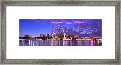 St. Louis Skyline At Dusk Gateway Arch Color Panorama Missouri Framed Print by Jon Holiday