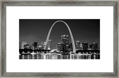 St. Louis Skyline At Night Gateway Arch Black And White Bw Panorama Missouri Framed Print