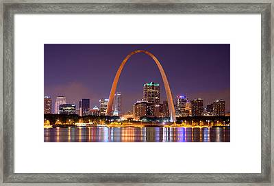 St. Louis Skyline At Night Gateway Arch Color Panorama Missouri Framed Print by Jon Holiday