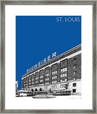St Louis Skyline Budweiser Brewery - Royal Blue Framed Print by DB Artist