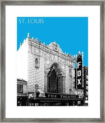 St Louis Skyline Fox Theater - Ice Blue Framed Print