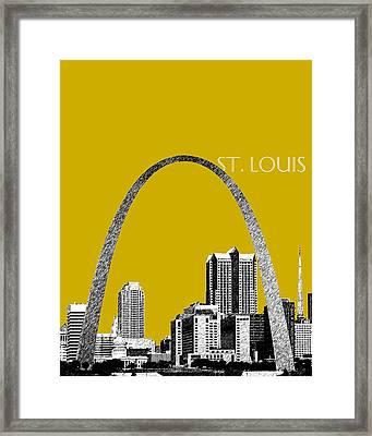 St Louis Skyline Gateway Arch - Gold Framed Print by DB Artist