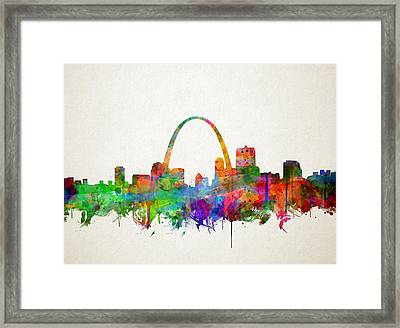 St Louis Skyline Watercolor 2 Framed Print