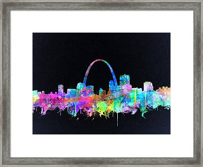 St Louis Skyline Watercolor 4 Framed Print