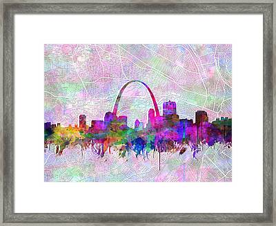 St Louis Skyline Watercolor 6 Framed Print