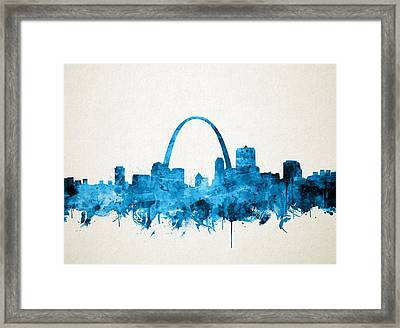 St Louis Skyline Watercolor Framed Print
