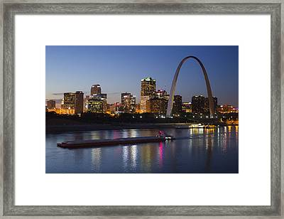 St Louis Skyline With Barges Framed Print