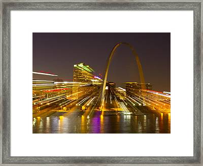 St Louis Skyline With Special Zoom Effect Framed Print