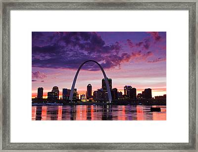St Louis Sunset Framed Print by Garry McMichael