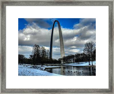 St. Louis - Winter At The Arch 011 Framed Print by Lance Vaughn