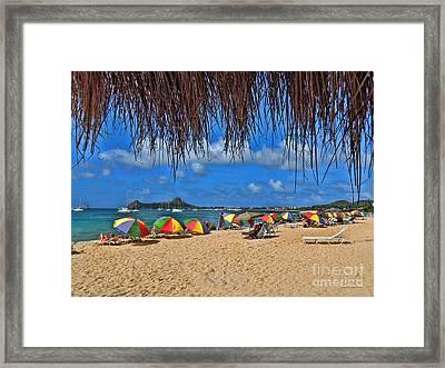 St. Lucia Beach Scene Framed Print by Joan  Minchak