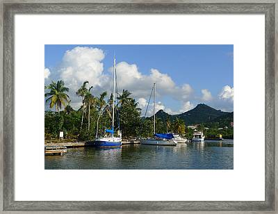 St. Lucia - Cruise - Boats At Dock Framed Print by Nora Boghossian