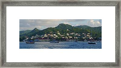 St. Lucia - Cruise - Three Boats Framed Print by Nora Boghossian