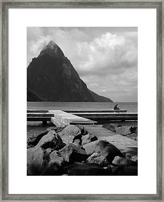 St Lucia Petite Piton 5 Framed Print by Jeff Brunton