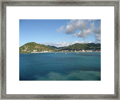 St Maarten At A Distance Framed Print by Jean Marie Maggi
