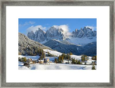 St. Magdalena Village In The Snow In Winter Framed Print
