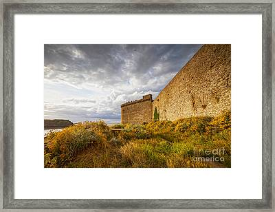 St-malo Brittany France Ramparts And Wildflowers Framed Print by Colin and Linda McKie