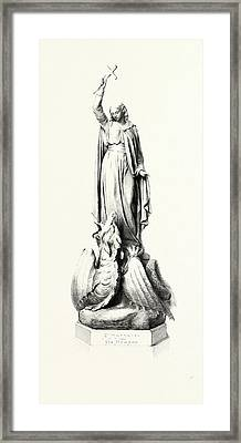 St. Margaret And The Dragon Framed Print by English School