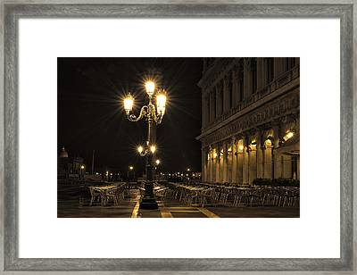 St Mark's Square At Night Framed Print by Marion Galt
