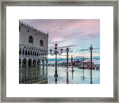 St Marks Square Flooded At High Tide - Venice Framed Print by Matteo Colombo