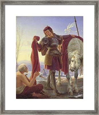 St. Martin And The Beggar, 1836 Oil On Canvas Framed Print by Alfred Rethel