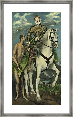 St. Martin And The Beggar Framed Print by Domenico Theotocopuli El Greco